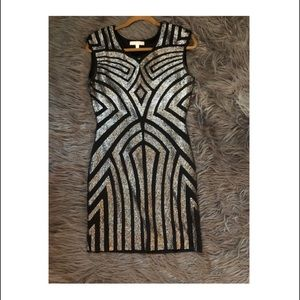 Evening silver sequence patterned dress